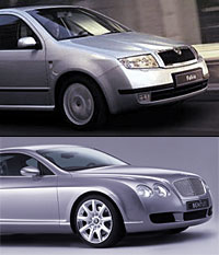 Designer Dirk van Braeckel penned the 2000 Skoda Fabia (above), an economy car sold in Eastern Europe.  He then designed the Continental GT. Any similarity is purely coincidental.