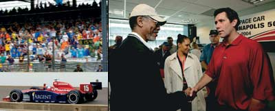 BY GEORGE Buddy Rice wins the Indy 500 (far left); IRL chief Tony George wins friends, such as actor Morgan Freeman (left).