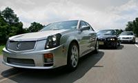 0409 S4pl CadillacCtsVbmwm3AudiS4 Cadillac CTSV And BMW M3 And Audi S4 Various Front Views