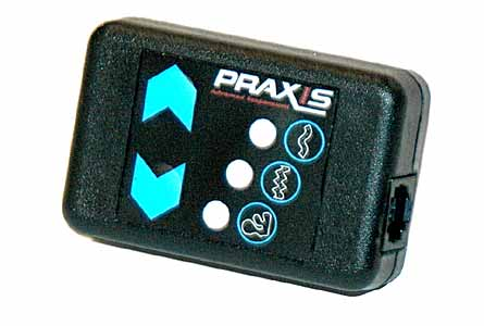 The Praxis control module can sit on the console or hide in the glove box.