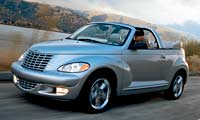 0404_pl 2005_Chrysler_PT_Cruiser_Convertible Front_Drivers_Side_View_Top_Down