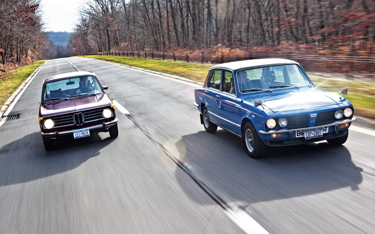 1004 02 Z Triumph Dolomite Sprint And BMW 2002tii Front View
