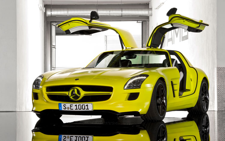 mercedes benz sls amg e cell prototype first look. Black Bedroom Furniture Sets. Home Design Ideas