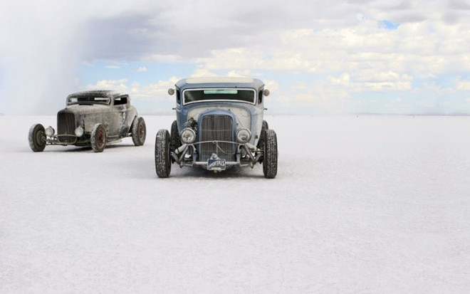 Deuce Coupes On Bonneville Salt Flats 660x413