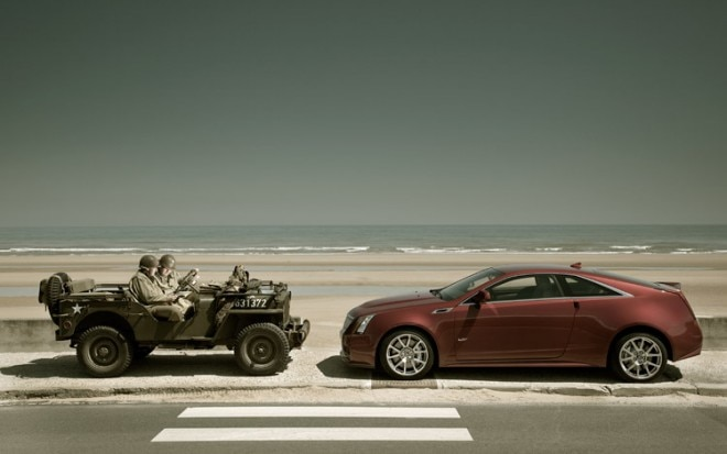 2011 Cadillac CTS V Coupe Left Side With Jeep 660x413