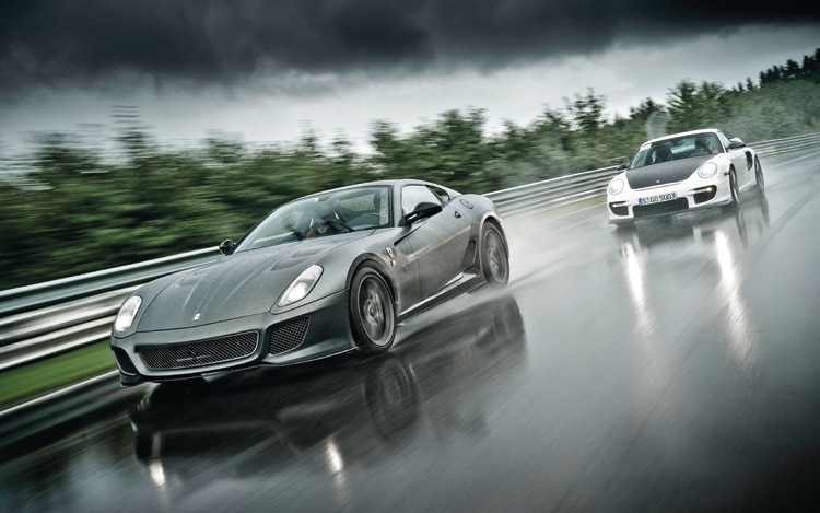 Ferrari 599GTO Porsche 911 GT2 RS Front In Motion1