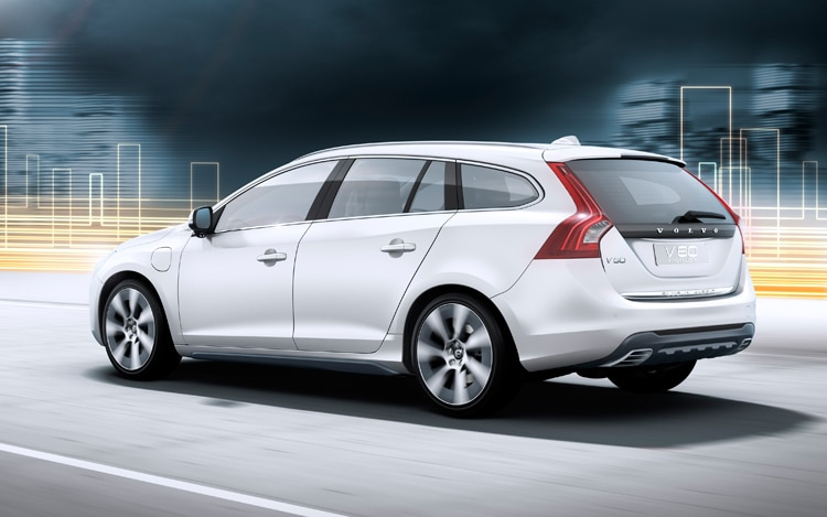 2012 Volvo V60 Plug In Hybrid Rear Three Quarter Driving1