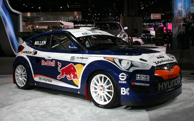 rmr hyundai veloster rally car at the 2011 chicago auto show automobile magazine. Black Bedroom Furniture Sets. Home Design Ideas