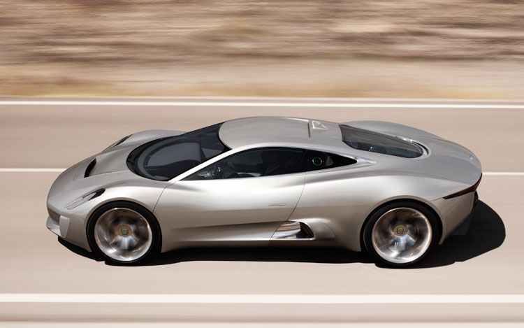 Jaguar C X75 Concept Top Side View In Motion