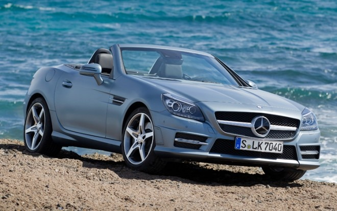 2012 Mercedes Benz SLK350 Passengers Front Three Quarters With Top Down 660x413