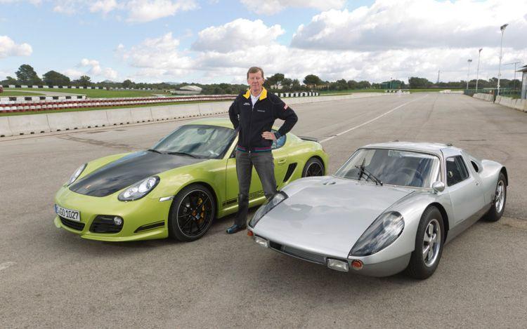 Walter Rohrl With 2012 Porsche Cayman R And Porsche 904 GTS