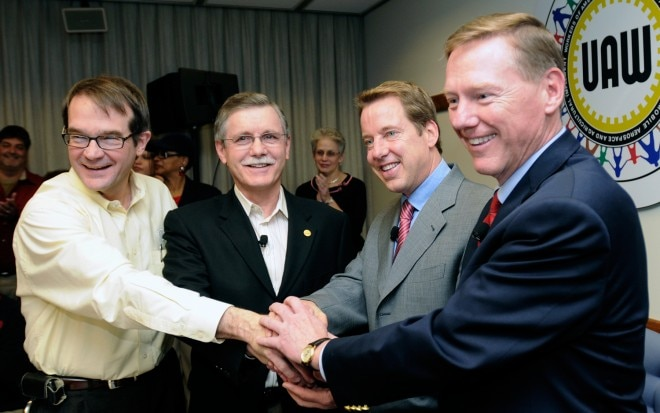Bob King Ron Gettelfinger Bill Ford Alan Mulally 660x413