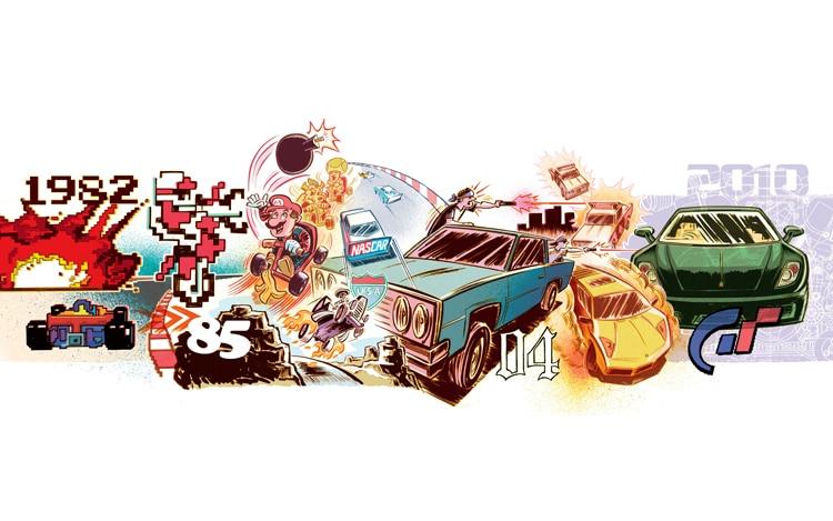Racing Games Retrospective Illustration