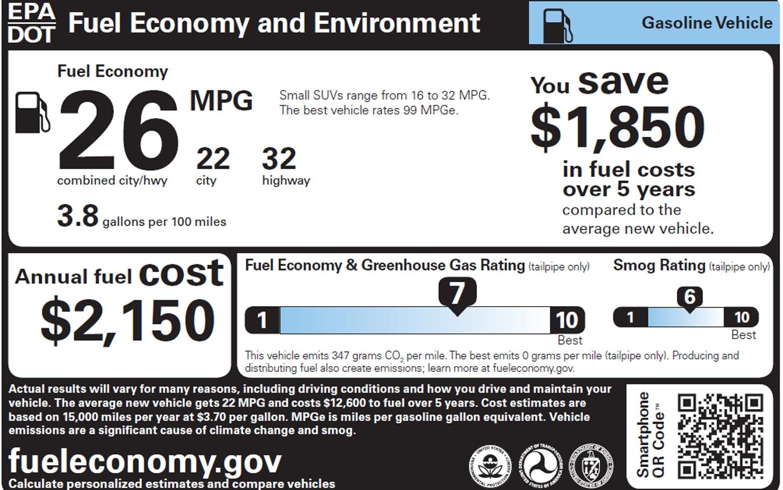 2013 Epa Window Sticker Gasoline1