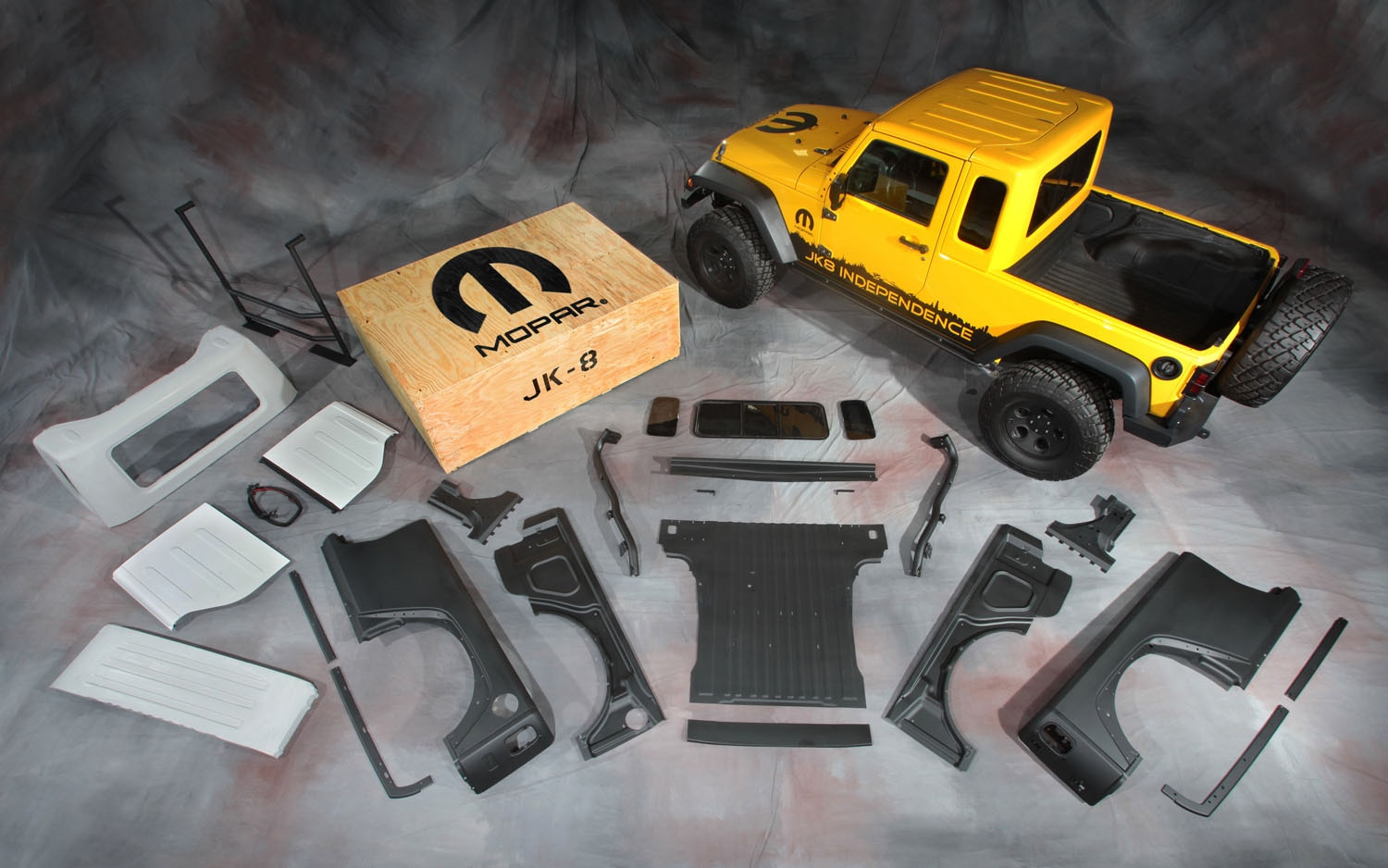 jeep offers jk-8 pickup truck conversion for wrangler priced at $5499