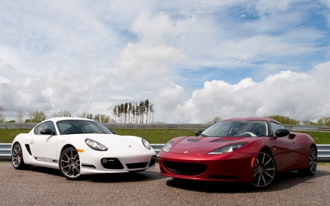 Porsche Cayman R Vs Lotus Evora S Front Side View 660x413