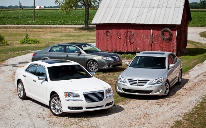 2011 Chrysler 300 Limited 2012 Hyundai Genesis 3 8 2011 Toyota Avalon Limited Front View Parked 660x413