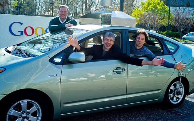 Google Car Sergey Brin Larry Page Eric Schmidt 660x413
