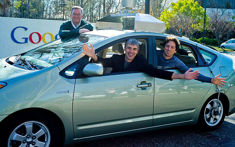 Google Car Sergey Brin Larry Page Eric Schmidt
