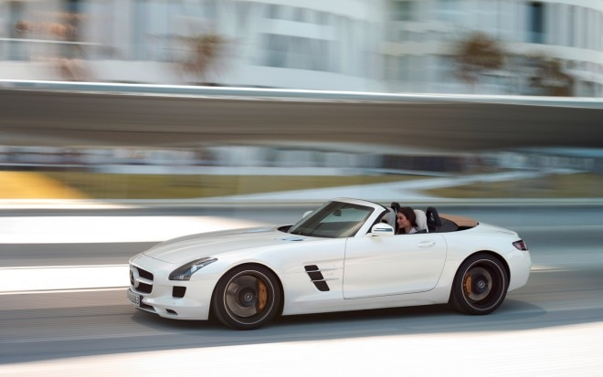 2012 Mercedes Benz SLS AMG Roadster Side In Motion 22 660x413