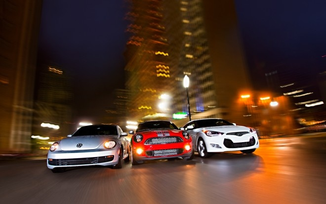 Volkswagen Beetle Mini Cooper Coupe And Hyundai Veloster Front View 660x413