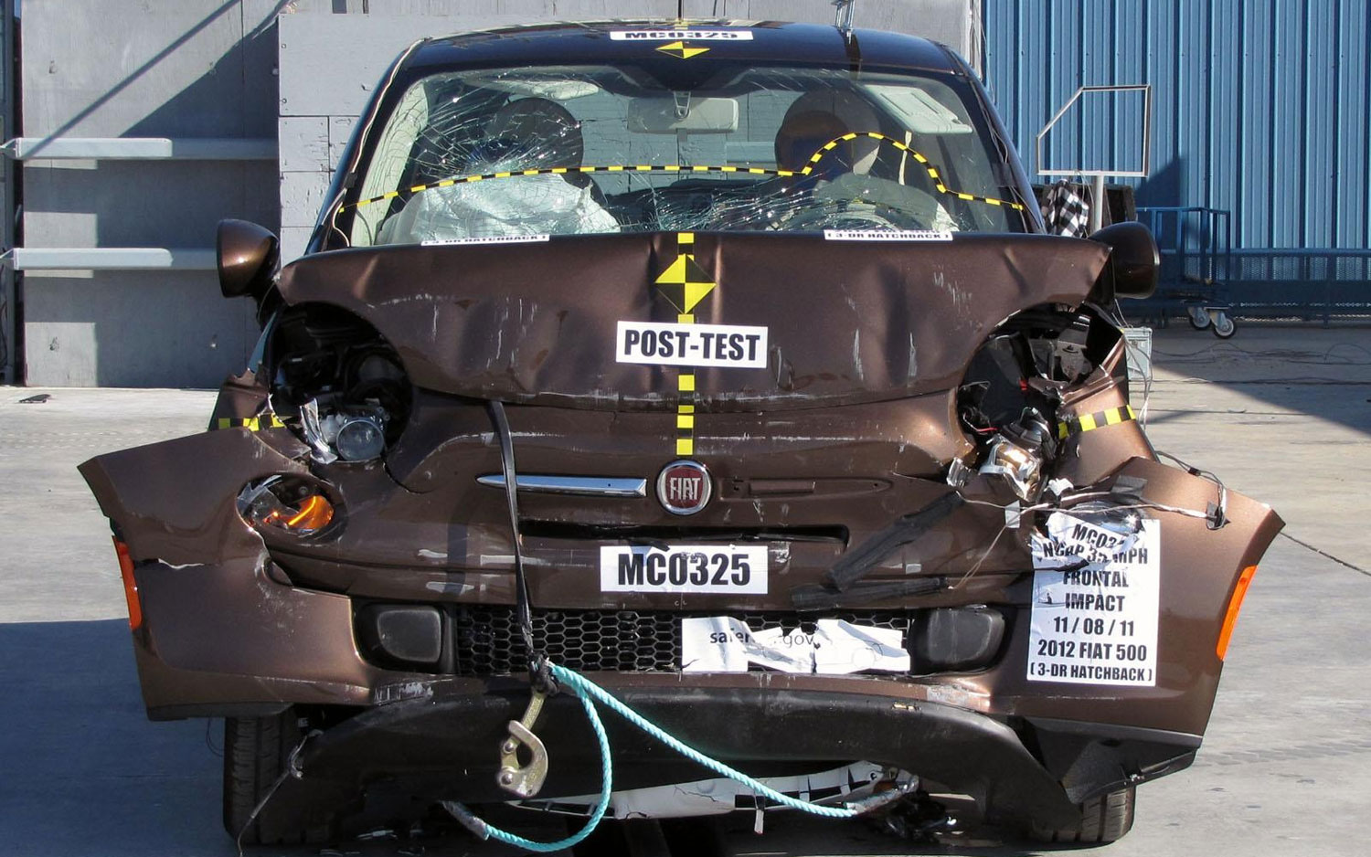2012 Fiat 500 Post Crash Test Front View1