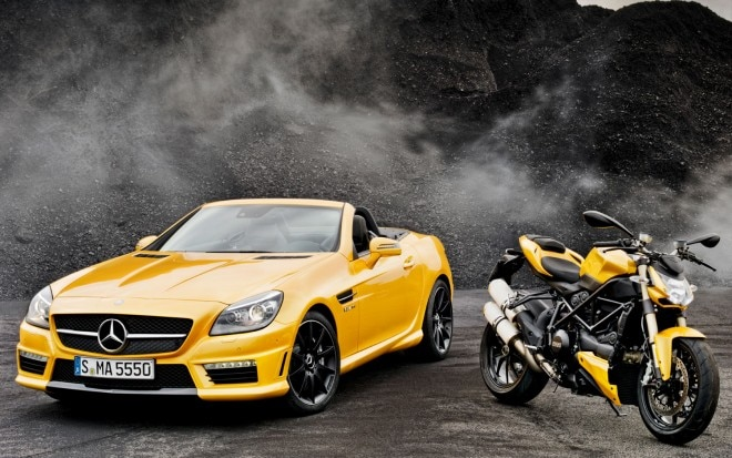 2012 Mercedes Benz SLK55 AMG Ducati Concept Front View With Bike1 660x413