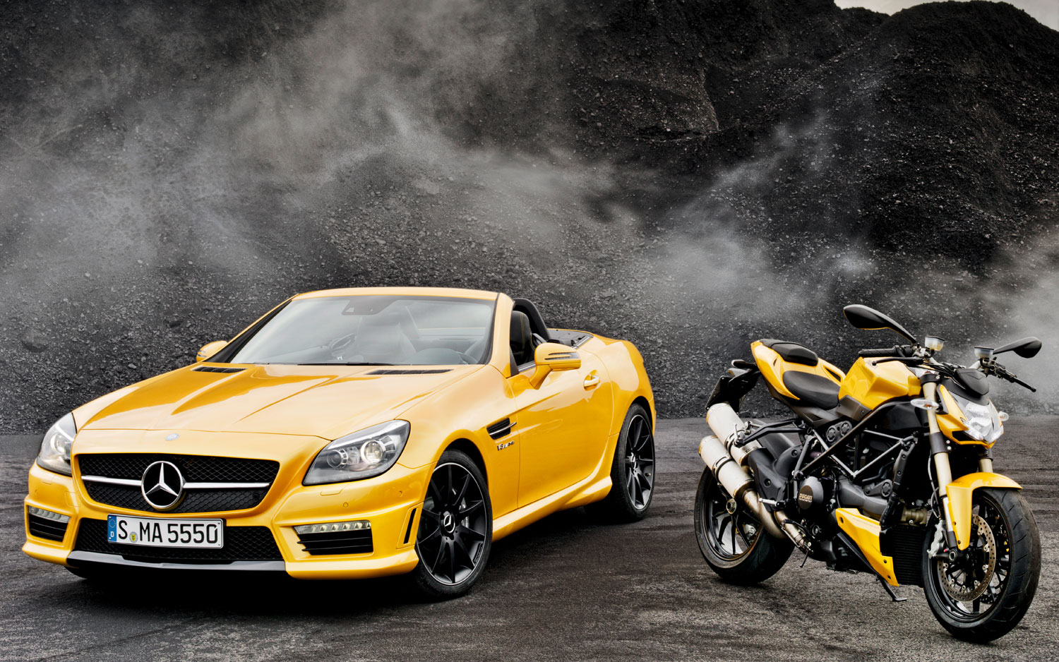 2012 Mercedes Benz SLK55 AMG Ducati Concept Front View With Bike1