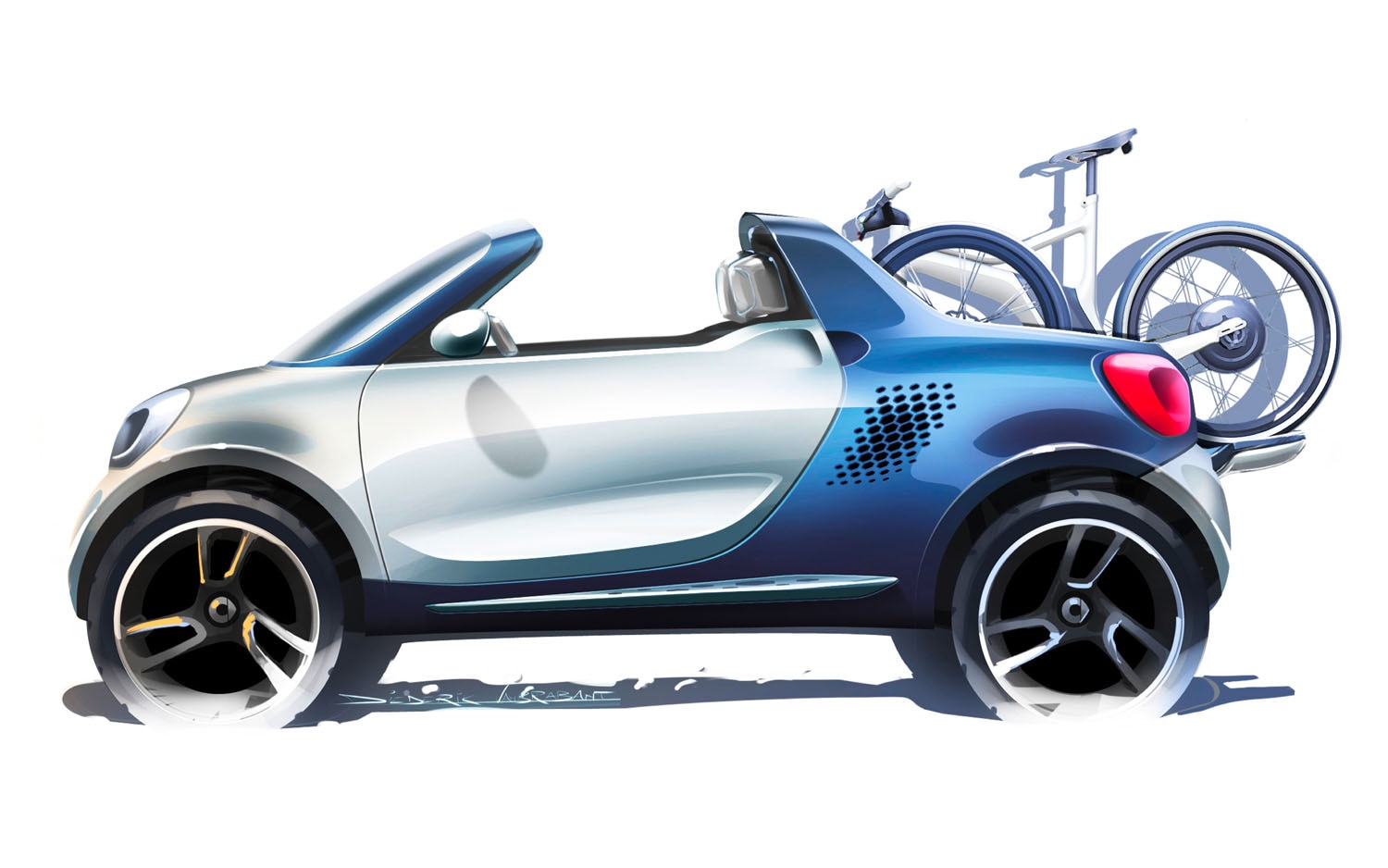 2012 Smart For Us Concept Sketch Left Side View 21