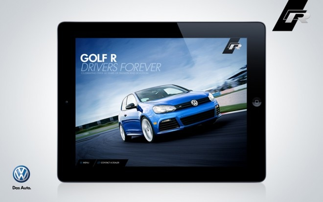 2012 Volkswagen Golf R IPad App Blue Front Three Quarter1 660x413