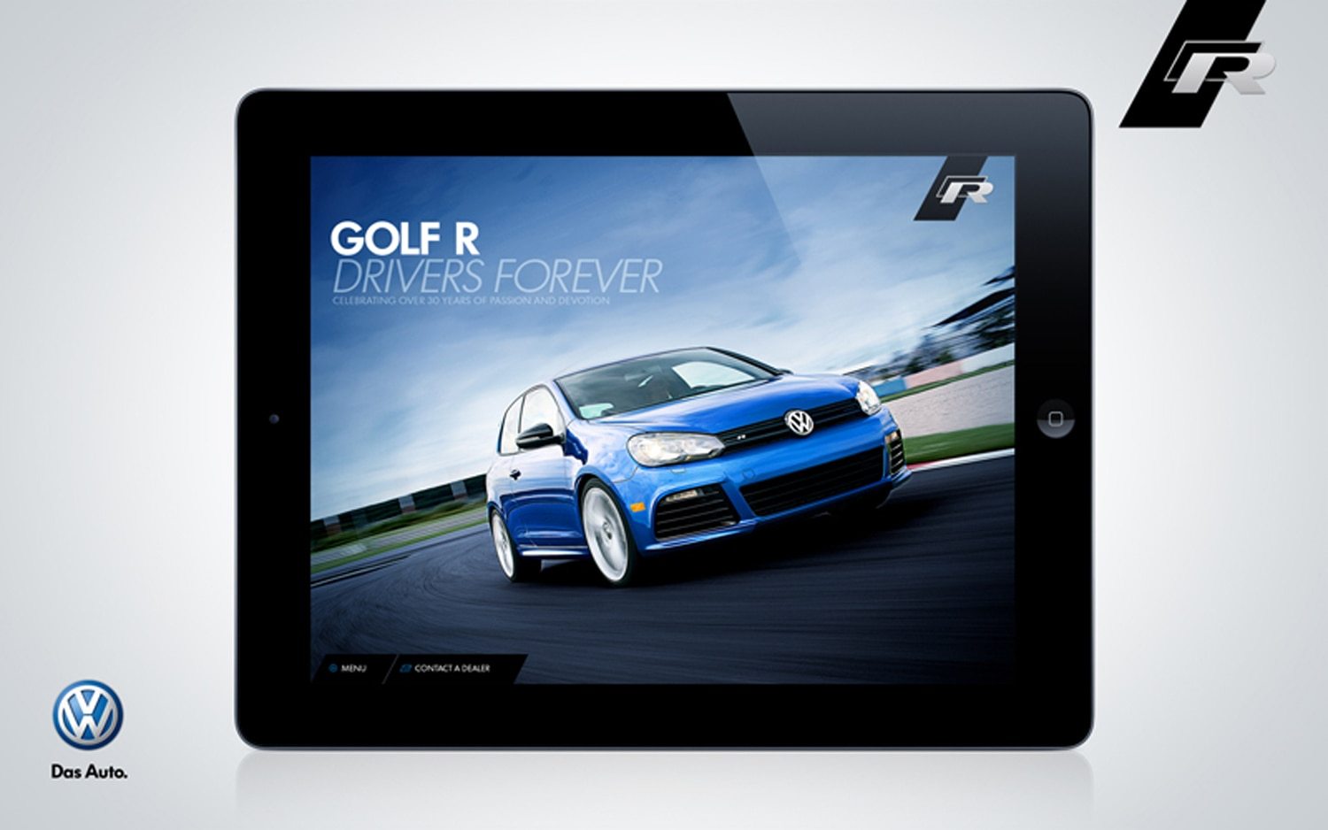 2012 Volkswagen Golf R IPad App Blue Front Three Quarter1