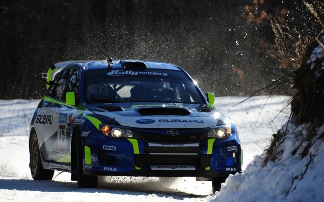 David Higgins Subaru STI 2012 Sno Drift Rally Front Three Quarter1 660x413