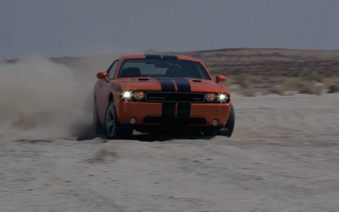 2012 Dodge Challenger SRT8 Front View Motion Drifting In Sand1 660x413