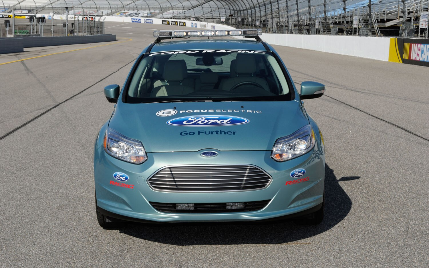 ford focus ev pace car shows its face before nascar race. Black Bedroom Furniture Sets. Home Design Ideas