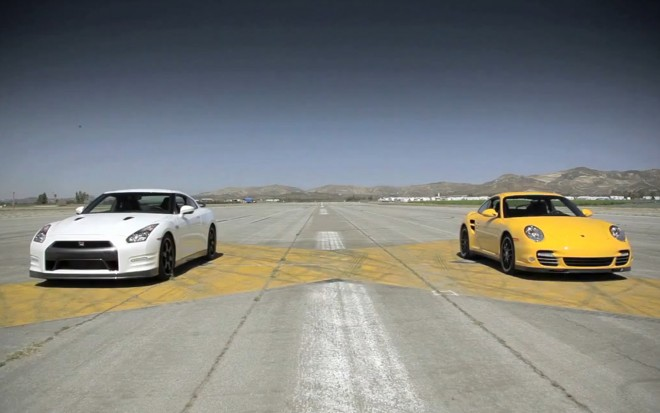 2013 Nissan GT R Black Edition Vs 2012 Porsche 911 Turbo S Front View Drag Strip1 660x413