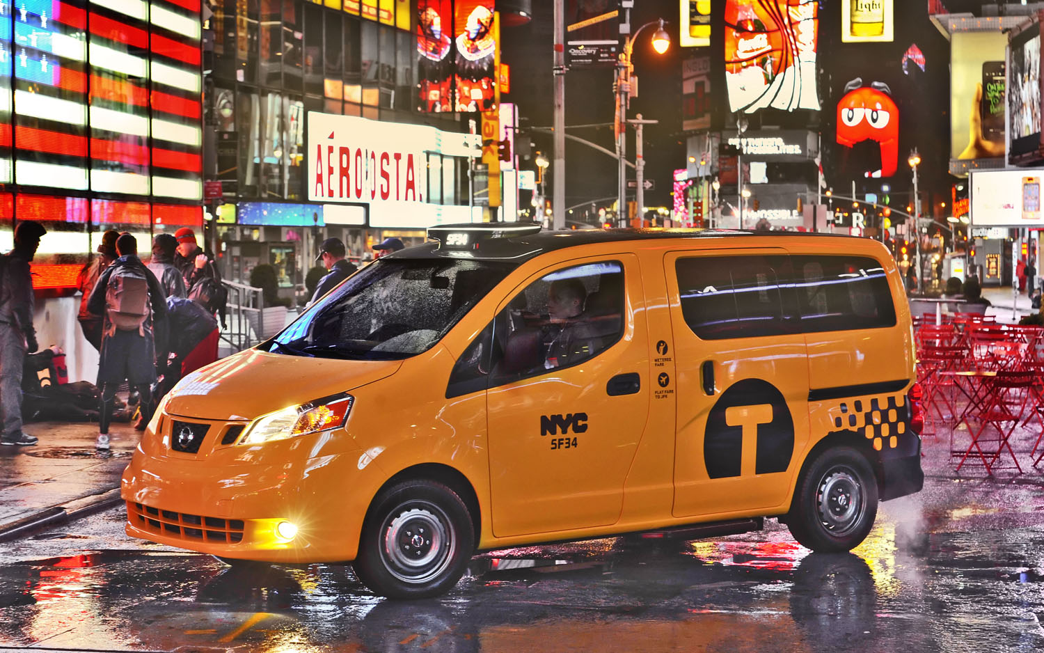 2014 Nissan NV200 NYC Taxi Front Three Quarter Times Square3