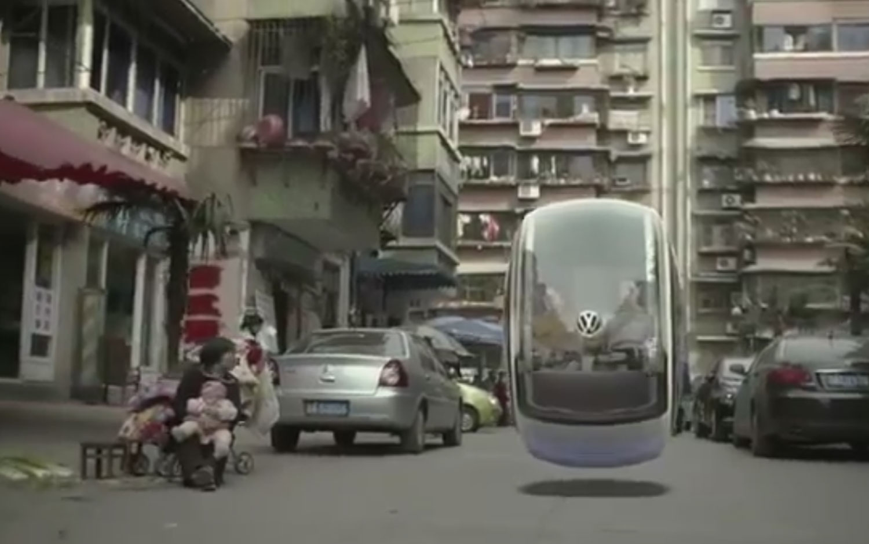 Volkswagen Hover Car Flying Down Street 21