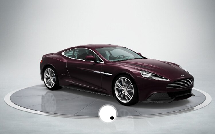 Aston Martin Vanquish In Amethyst Red Blue With Standard Trim And Liquid Black 20 Spoke Wheels And Blue Brake Calipers Configurator1