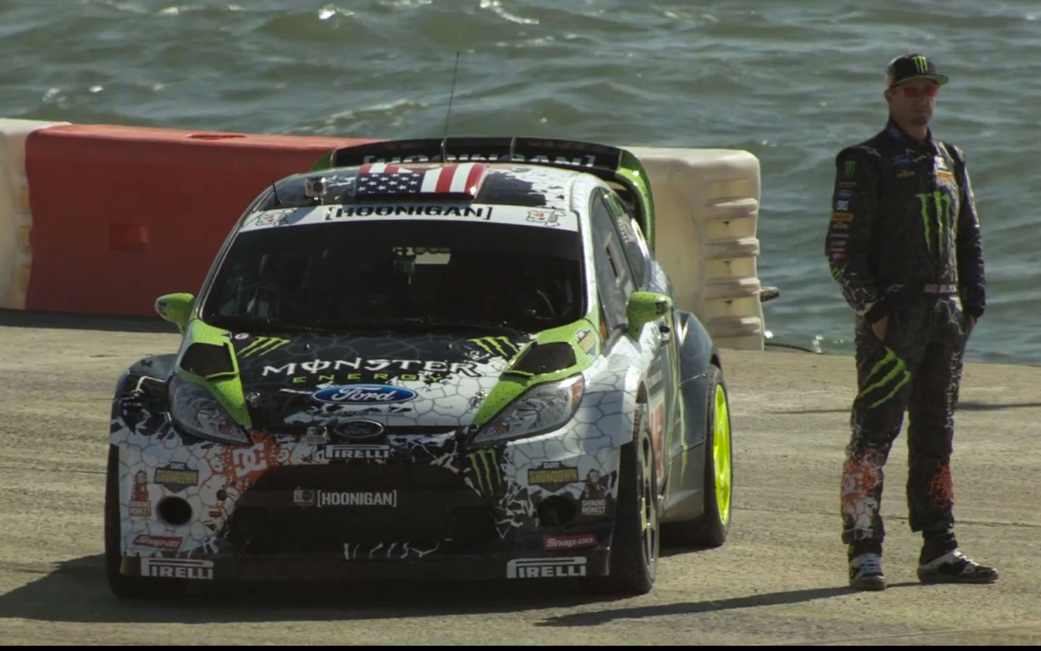Ken Block Gymkhana 5 Teaser Block And Ford Fiesta On Barge1