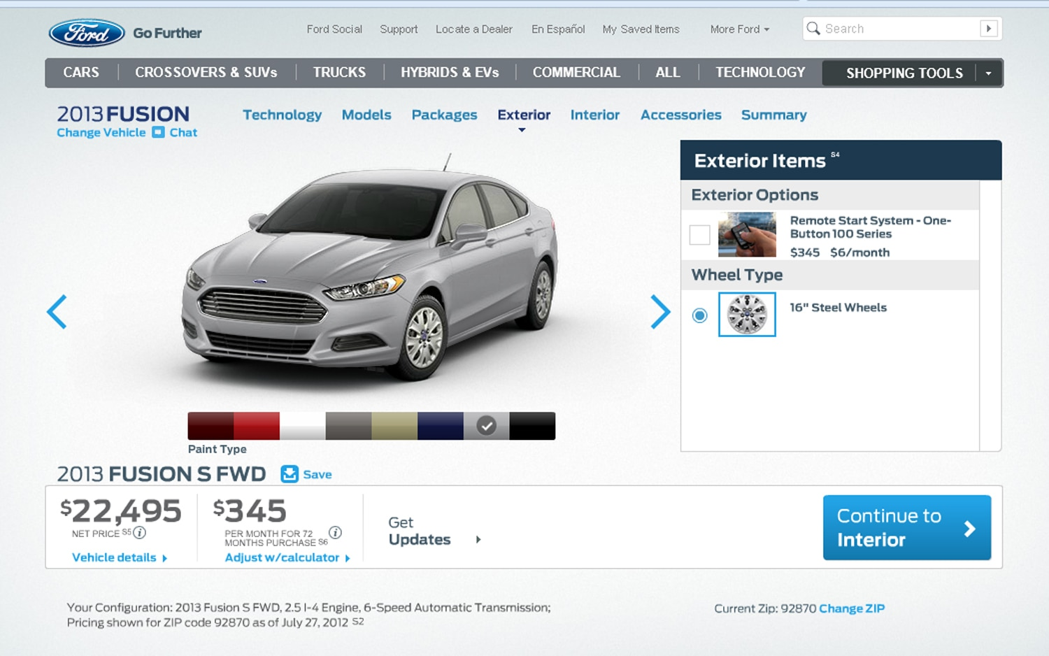 2013 Ford Fusion S FWD 2