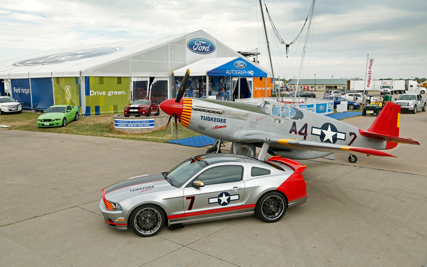 2013 Ford Mustang Boss 302 Laguna Seca Red Tails And P 51C Mustang Side Above1