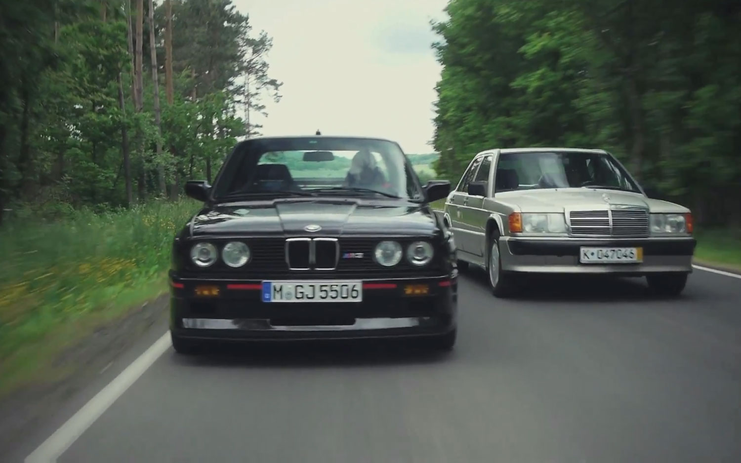 BMW E30 M3 And Mercedes Benz 190E 23 16 Front View In Motion1