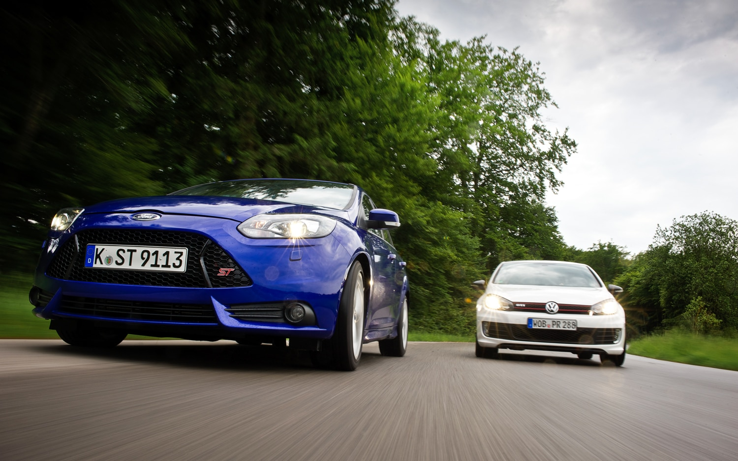 2013 Ford Focus ST Vs 2012 Volkswagen GTI Front View1