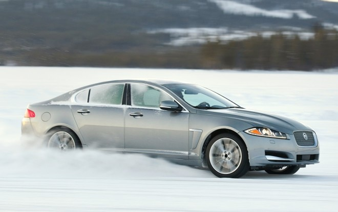 2013 Jaguar XF 30 AWD Side View In Snow1 660x413