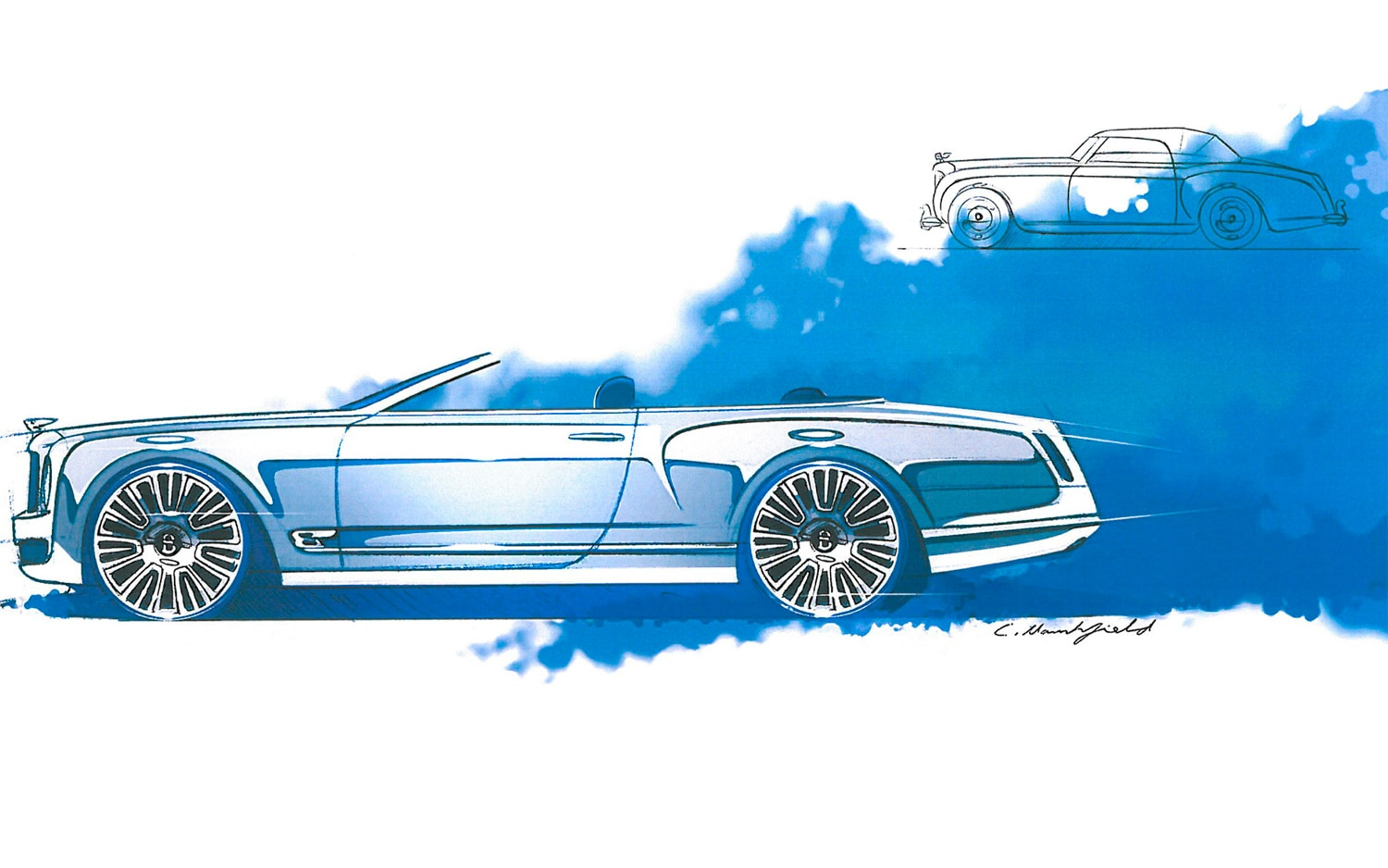 Bentley Mulsanne Convertible Concept Side View Top Down1