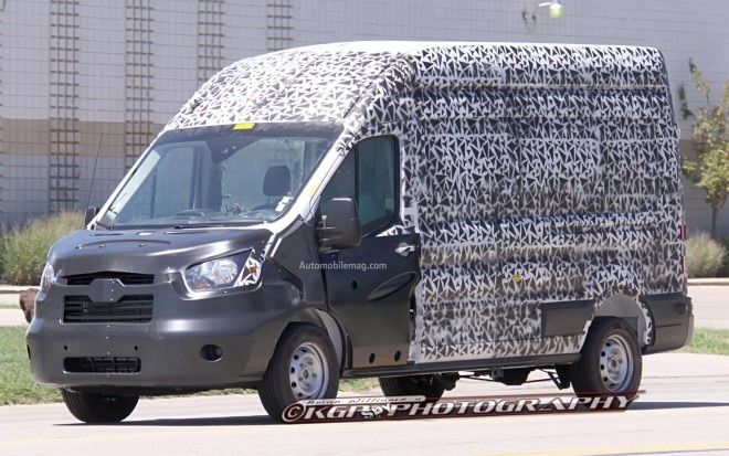 Ford Transit Cargo Van Spy Photo Front Three Quarter 51 660x413