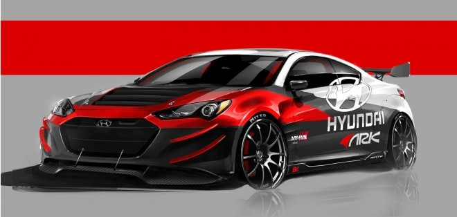 ARK Performance 2013 Hyundai Genesis Coupe R Spec SEMA Show Car Sketch Left Front 111 660x314