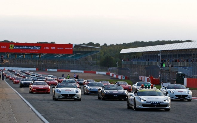 Ferrari Parade At Silverstone Circuit View From Front1 660x413