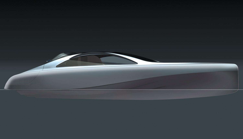 Mercedes Benz Designed Silver Arrow Of The Seas Yacht Side Sketch 021