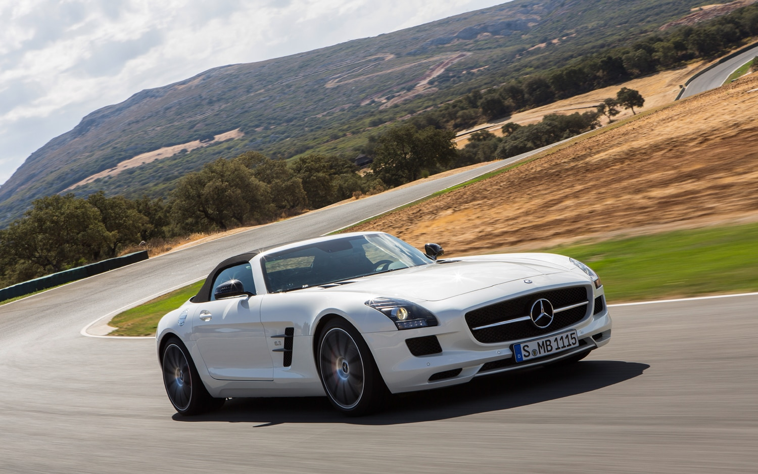 2013 Mercedes Benz SLS AMG GT Roadster Front Three Quarter On Track 21